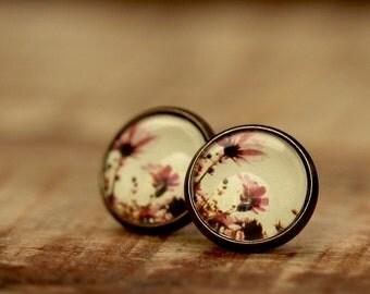Glass Cabochon Earrings * flowers * - e103