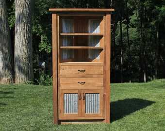 Rustic Corner Cabinet - Reclaimed Barn Wood w/Barn Tin #6202