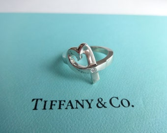 Authentic Tiffany & Co. Paloma Picasso Sterling Silver Loving Heart with Diamond Ring Size 5.5