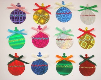 12 Handmade Christmas Bauble die cut card toppers for cardmaking craft projects
