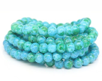 20 Aqua Green Glass Beads Marbled Tie Dye Beads 6mm Loose Beads 3949