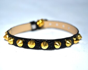 Small Studded XS Cat Kitten Collar Black Faux Fake Lizard pattern Leather Gold Studs