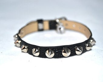 Small Studded XS Cat Kitten Collar Black Faux Fake Lizard pattern Leather Silver Studs