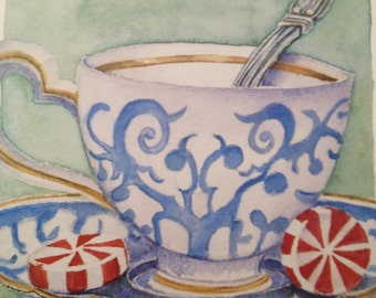 Peppermint tea teacup print signed numbered