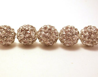 5 Pave Beads, 10mm White Crystal Pave, White Shamballa Beads, White Disco Ball Bead, White Pave Beads, 10mm Disco Ball Bead, T-102E