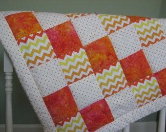 Infant to Toddler Quilt Set. Bright Batik. Tag Blanket. Stroller/Car Seat Quilt. Toddler Conforter. 3 Piece Set. Chevron Stripes. Orange Dot