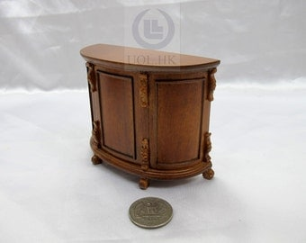 """20% OFF Miniature 1"""" Scale Small Semicircle Bar For Doll House [Finished in walnut]"""