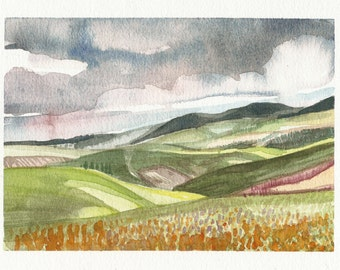 Tuscan and clouds, watercolour