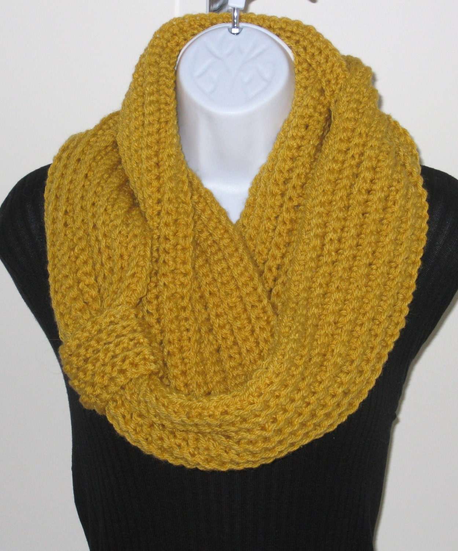 Crochet Infinity Scarf : to CROCHET INFINITY SCARF - Circle Scarf - Chunky Scarf - Yellow Scarf ...