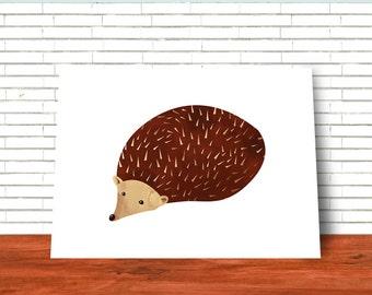 Hedgehog, Printable Art, Wall art, Illustration, Nursery Art, Woodland