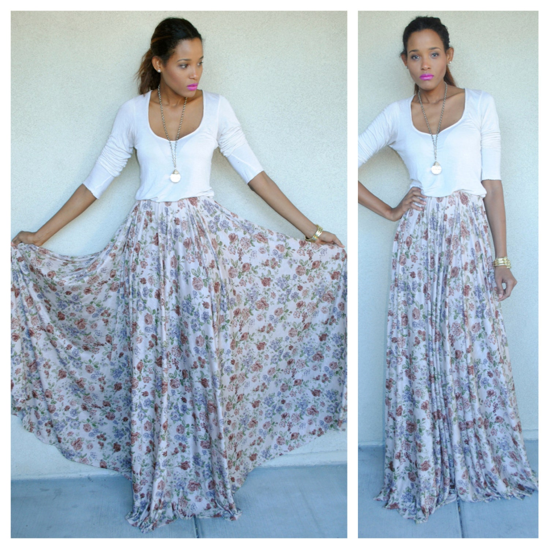 vintage floral print draped maxi skirt circle skirt