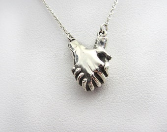 Anatomy Holding Hands Sterling Silver  Handmade Necklace