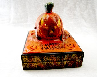 Halloween Pumpkin Head Keepsake or Candy Solid Wooden Box - Hand Crafted and Hand Painted