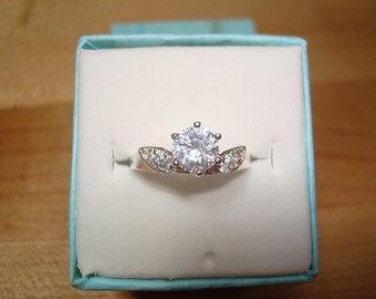 Diamond Cut White Sapphire 925 Sterling Silver Engagement Ring Size 6