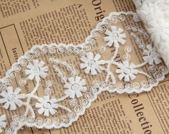 DIY Lace ribbon online store flower embroidered ribbon DIY material 8cm lace belt white trim organza lace for wedding