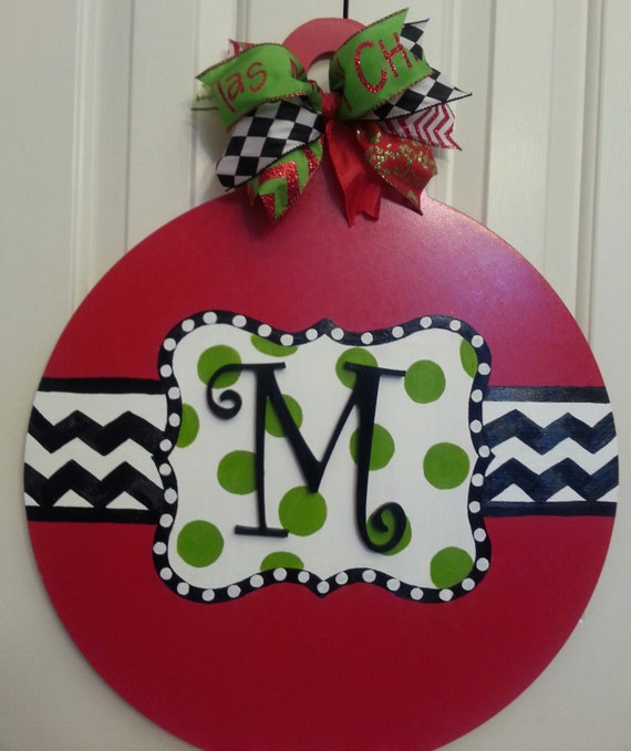 Items similar to christmas ball door hanger on etsy
