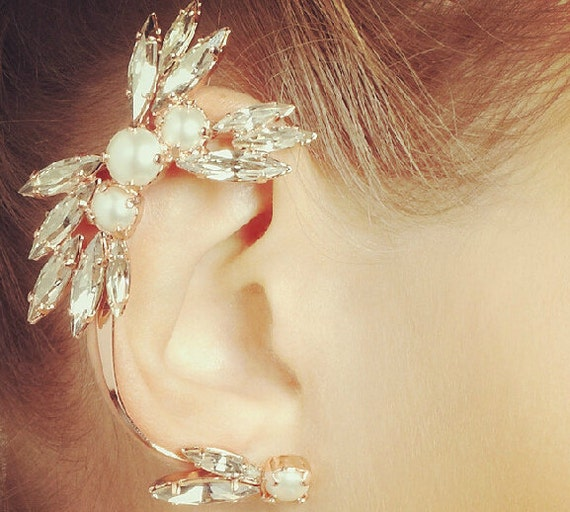 Free Shipping - Fashion Women Diamond Pearl ear cuffs