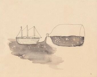 Fresh Water Sailor - 10 x 12in Giclee Fine Art Print
