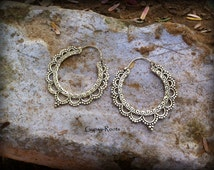 Orient magic earrings, brass hoops or silver plated