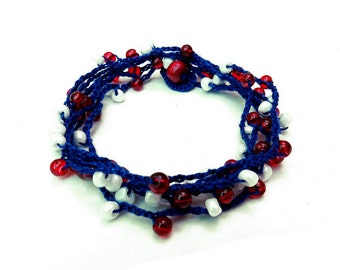 Wrap bracelet necklace anklet red sapphire blue white 4th of july patriotic handmade crochet with glass beads