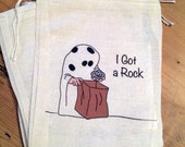 Charlie Brown Halloween Bags. I Got A Rock. Gift Set of 4 Cotton Drawstring candy treat favor bags  5x7 6x8 7x11