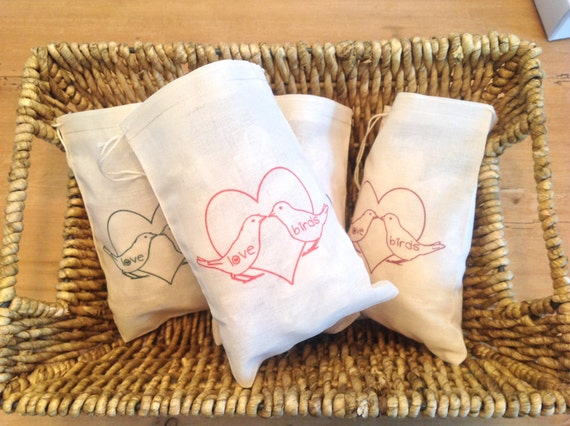Love Birds Valentines Day Wedding Shower Bags - Gift Basket, Party ...