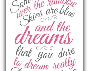 Somewhere over the RAINBOW print or canvas - baby shower gift- girl - birthday gift print - playroom art -  inspirational print