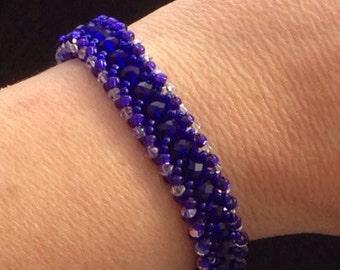 Chaya's Royal Blue Hand Beaded Rondelle Bracelet