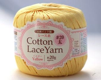 Yellow, Cotton Lace, Japanese Yarn, 20grams, 88yards