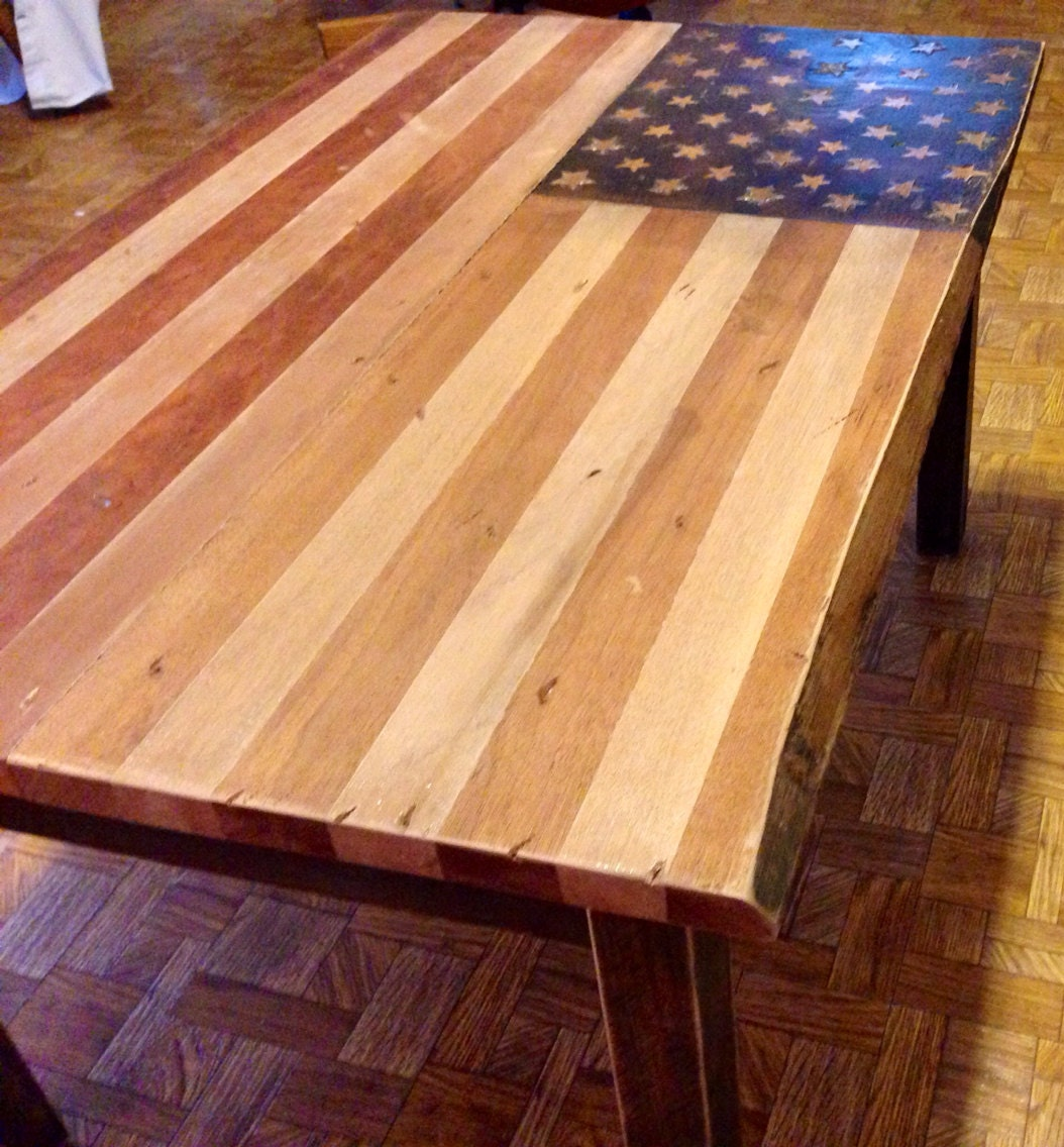 Rustic Patriotic American Flag Coffee Table Stained Cherry And