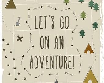 DIGITAL DOWNLOAD - Adventure Print, Let's go on an adventure - Children's Print