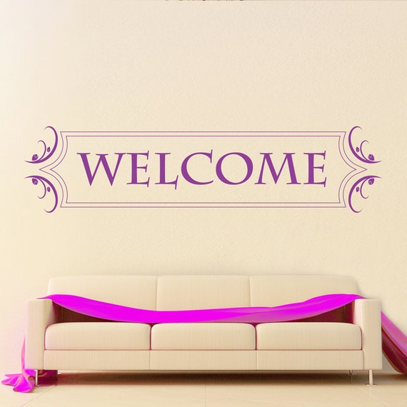 Welcome ... Inspirational Wall Sticker Hearts Decal Transfer
