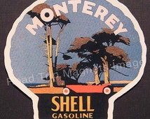 Shell Gasoline 1920s Travel Decal Magnet for MONTEREY (CA). Accurate reproduction & hand cut in shape as designed. Nice Travel Decal Art