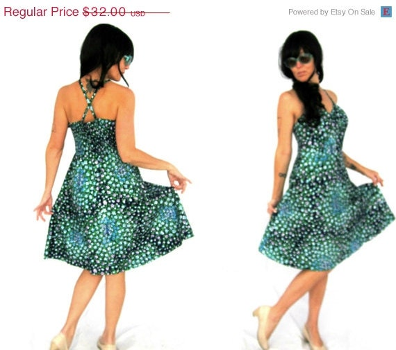 Black Friday Cyber Monday 70s Floral Sundress /  Vintage Murray Meisner / Retro Rockabilly / Womens Size Medium