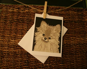 5x7 Blank Notecard of a Pomeranian
