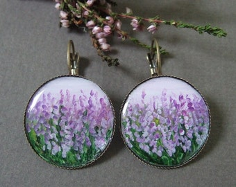 Hand painted earrings with heather and acrylic cabochons