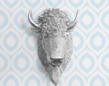 The Yellowstone in Silver - Faux Bison Head Taxidermy - Resin Animal Fake Fauxidermy Ceramic Mounted Wall Decor Plastic Decorative Mount Art