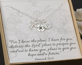 Confirmation Gift,  Graduation Gift, Cross charm, Compass charm, Initial Jewelry