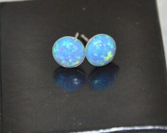 Stud Earrings, Opal Earrings,  Sterling Silver, Blue Opal, 8mm Opal, Post Earrings, Silver Earrings, Opal Jewelry