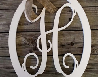 Wooden Letter Door Hanger - Painted Initial Door Hanger - Personalized Wreath - Wedding Gift - Mother's Day Gift - Housewarming Gift