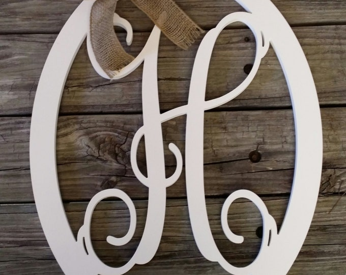 Wooden Letter Door Hanger - Painted Initial Door Hanger - Personalized Wreath - Wedding Gift - Mother's Day Gift - Housewarming Gift