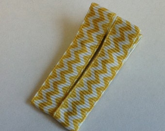 No Slip Hair Clip, Yellow Chevron Lined Hair Clips, Hair Accessory, Single Pronged, Partially Lined Clip, Rubber grip, chevron ribbon, party
