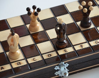 Small wooden chess board and pieces, 12inches
