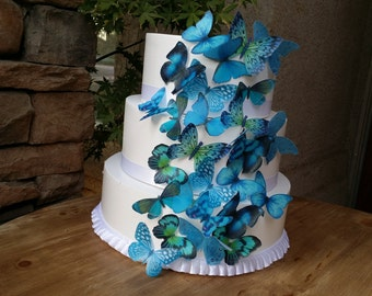 Edible Blue Wafer Butterfly/Cake Topper/ Cake decoration.Set of 27