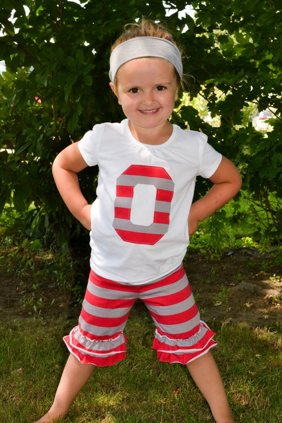 Red and Gray striped ruffle shorts with tank tee Ohio State