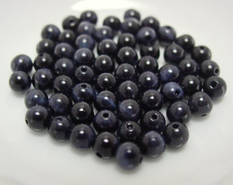 Blue Tigers Eye Smooth Round 4 mm - 10 beads #526B