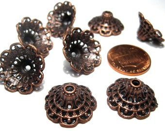 9pcs Antique Copper Large Bead Caps (Lo1)