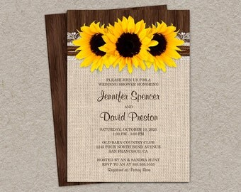 DIY Printable Rustic Sunflower Wedding Shower Invitation, Sunflower Couples Shower Invites, Rustic Wedding Shower Invitation Cards