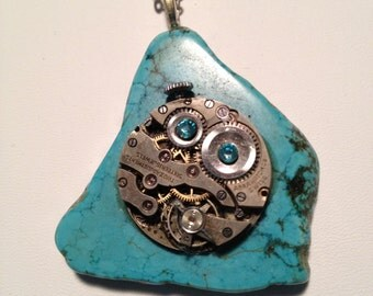 Steam Punk Round Watch Movement Necklace - Turquoise color Stone and Gems