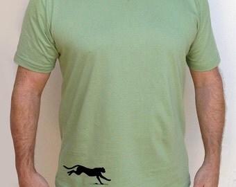 Men's Silkscreened Organic Cotton Fine Jersey Short Sleeve V-Neck Panther LARKSHAPES Tee
